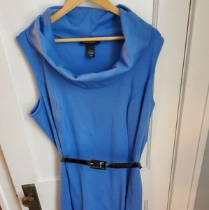Blue sleeveless dress with cowl neck and belt
